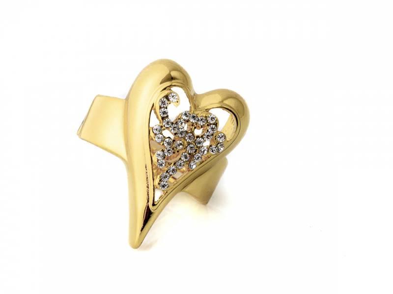 30109 Ring med mønster i gullfarge