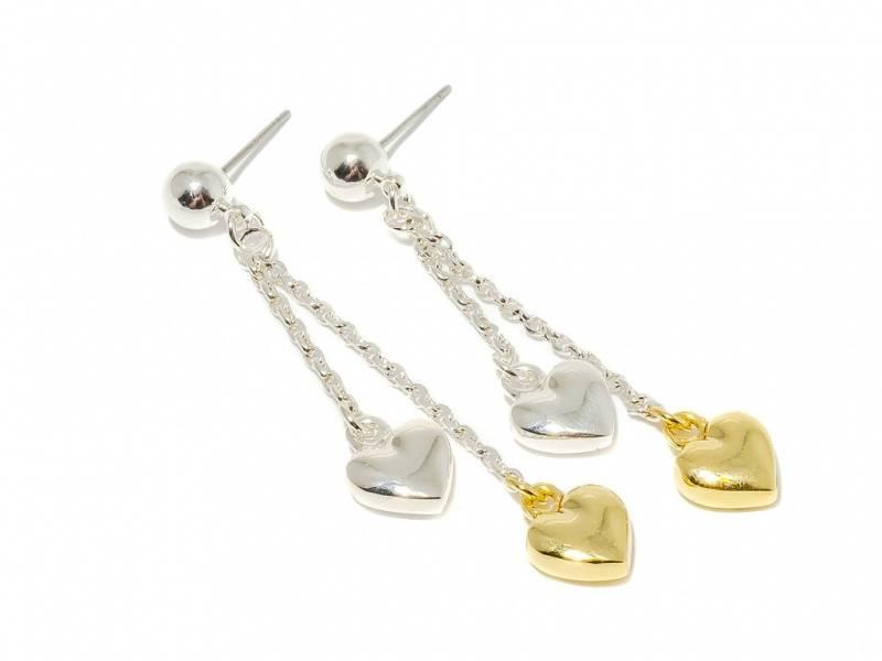 70131 Øredobber lang med sølv og gullfarget hjerte