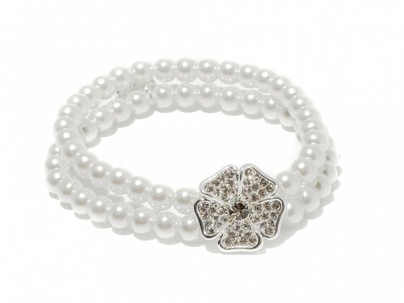 80137 Armbånd strikk hvite perler blomst med stener