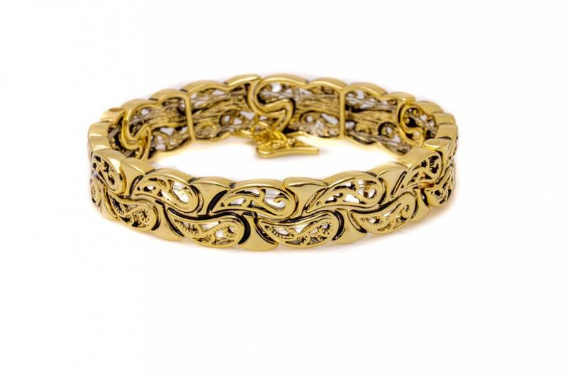 20334 Armbånd i antikk gullfarge med mønster