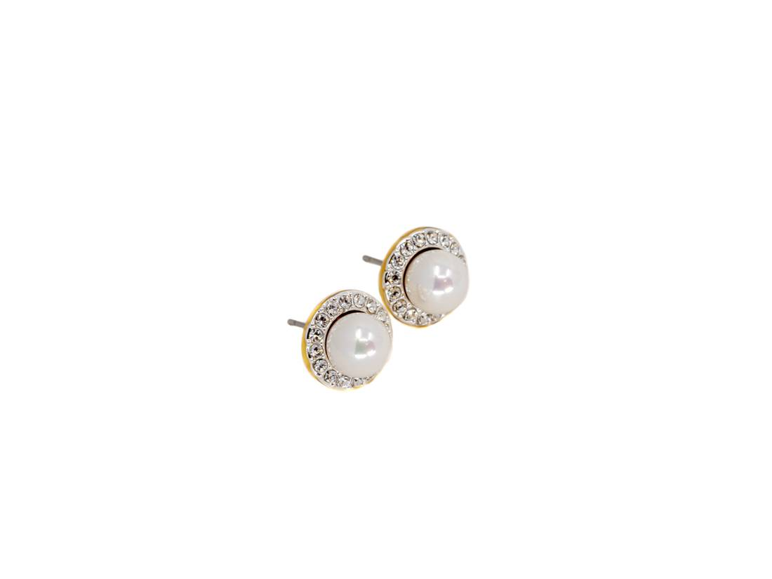 60146 Øredobb rund stener hvit perle