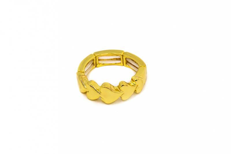 30112 Ring hjerter i rad gullfarget